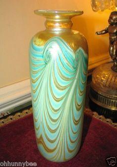 STEPHEN FELLERMAN Feather Pull Blown Glass Art Nouveau Vase