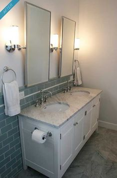 bathroom \\ white double vanity + subway tile + chrome accents