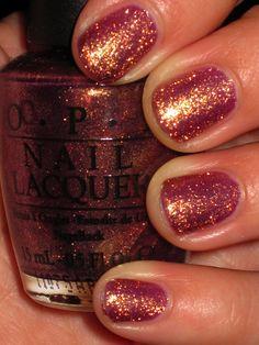 Copper Sparkle Nails