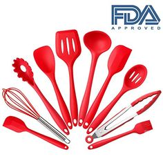 Introducing Unichart Set of 10 Pieces Silicone Kitchen Cooking Utensils With Hygienic Solid CoatingHeat Resistant Baking SpoonulaBrushWhiskSpatulaLadleSlotted Turner and SpoonTongsPasta Fork Red. Great Product and follow us to get more updates!