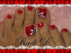 Red Toe Nail Designs Gallery red nails with black and white design toe nails red Red Toe Nail Designs. Here is Red Toe Nail Designs Gallery for you. Red Toe Nail Designs red nails with black and white design toe nails red. Toe Designs, Pedicure Designs, Pedicure Nail Art, Red Nail Designs, Colorful Nail Designs, Nail Polish Designs, Toe Nail Art, Flower Pedicure, Black Pedicure