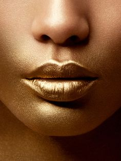 Gold lips maybe not wedding makeup but still amazing www.finditforweddings.com