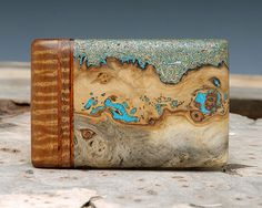Exotic Wood Brass & Turquoise Inlaid Belt Buckle  by ShandsDesign