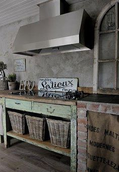 rustic french kitchen if i don't get the range I want this would work great with the cooktop as second choice