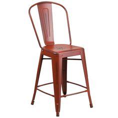 Flash Furniture Distressed Red Metal Stool [ET-3534-24-RD-GG]