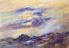 Stormy weather over the welsh hills - watercolour & soft pastel By Ann Fellows
