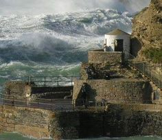 Rough sea at the harbour Portreath