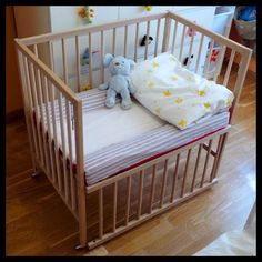 cosleeper IKEA hack - Sniglar Crib $69.99 made smaller, could leave it the normal size and remove the one side