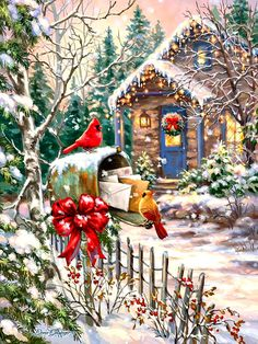 Cardinals at the Mailbox - Boxed Christmas Cards Boxed Christmas Cards, Old Fashioned Christmas, Christmas Past, Christmas Printables, Winter Christmas, Xmas, Holiday Cards, Illustration Noel, Christmas Illustration