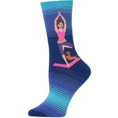 Hot Sox Women's Yoga Girl Printed Mid-Calf Sock ($6) ❤ liked on Polyvore featuring intimates, hosiery, socks, dark blue, hot sox socks, calf length socks, yoga socks, hot sox and graphic socks