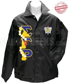 Sigma Gamma Rho Line Jacket with Pearls Thru Greek Letters and Crest, Black-Black Sigma Gamma Rho crossing jacket with pearls embroidered through the Greek letters down the right and the crest on the left breast. Don't like this line jacket? Alpha Fraternity, Alpha Phi Alpha, Sigma Gamma Rho, Royal Blue And Gold, Painted Clothes, Anorak Jacket, Line Jackets, Motorcycle Jacket, Sorority