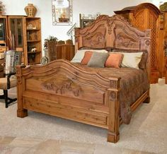 Beautiful carved horses in headboard and footboard