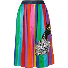 Mira Mikati colour block pleated skirt (2.125 RON) ❤ liked on Polyvore featuring skirts, block print skirts, colorblock skirts, multicolor skirt, multi color skirt and colorful skirts