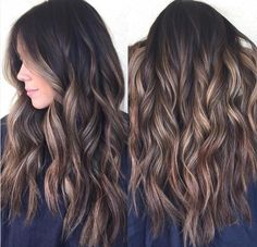 Balyage for darker hair. This is amazing. when i see all these cute hair styles it always makes me jealous i wish i could do something like that I absolutely love this hair style so pretty! Perfect for summer!!!!!