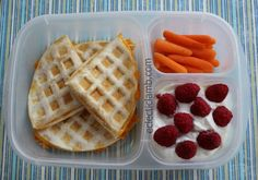 Today is International Waffle Day so I have a lunch quesadilla waffle and a dinner or dessert waffle with ice cream and fruit. Packed in #EasyLunchboxes