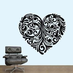 Coração Floral - Decoração em vinil Autocolante decorativo e Papel de parede