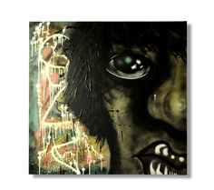 Eye feels free hand graffiti painting on 1x1 meter squared canvas by James Warner