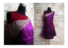 patch work on silk kurti. get it at http://mytailor.in/