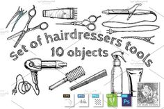 Set of #hairdressers #tools by CatMadePattern on @creativemarket