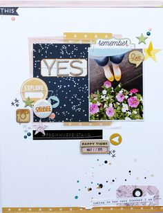 Yes by MelBlackburn at studio_calico 12x12 Scrapbook, Scrapbook Sketches, Scrapbook Page Layouts, Travel Scrapbook, Scrapbook Paper Crafts, Scrapbook Journal, Photo Layouts, Gossamer Blue, Studio Calico