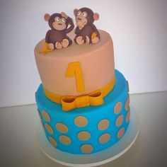 Monkeys cake #cakefortwins #monkey #cakedesign #cakeforboys