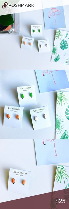 ❗️LAST TWO❗️Kate Spade popsicle stud earrings Super cute popsicle stud earrings from Kate Spade // gold plated metal with enamel coat // available in orange, green and white colors // choose color from size options kate spade Jewelry Earrings