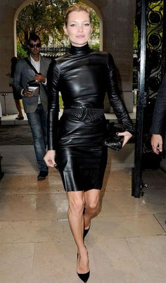 Kate Moss Style Icon - black leather dress - HOT