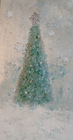 Painted canvas and crushed glass Christmas Tree, Art Shattered by Cindy Everett-Manly. Broken Glass Art, Sea Glass Art, Stained Glass Art, Shattered Glass, Broken Glass Crafts, Smash Glass, Glass Fusing Projects, Christmas Tree Art, Blue Christmas