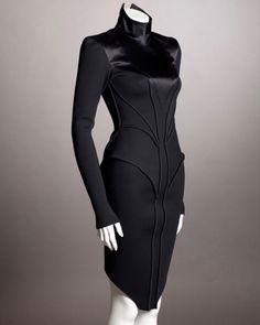 Satin Bodycon Dress, Satin Dresses, Gothic Gowns, Concept Clothing, Neoprene, Cyberpunk Fashion, Formal Gowns, Black Women, Runway