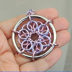 Big Bold Chainmaille Pendant Pink and Lavender Leather by Lehane, $26.95 #group2020 #etsy #etsyRMP
