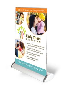 A4 Table Roll-up Banner for Early Years Parenting, to be seen at this weekends 020 Pop-up Event, Amsterdam.