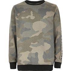 Boys khaki camouflage print jumper £15.00