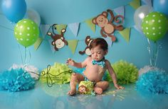 Blue & Green Monkey Smash Cake Photography Session | First Birthday party idea | First Birthday Portraits | CT Newborn Photographer Elizabeth Frederick Photography specializing in CT Newborn, CT Baby, CT Wedding & CT Maternity Photography.