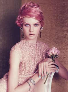 Elegant in pink hair