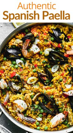 You can make authentic Paella in your own kitchen with simple ingredients like rice, saffron, vegetables, chicken, and seafood. Fish Recipes, Mexican Food Recipes, Dinner Recipes, Ethnic Recipes, Mexican Paella Recipe, Authentic Spanish Paella Recipe, Easy Spanish Paella Recipe, Best Seafood Recipes, Tapas Recipes