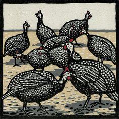 """""""Guinea fowl"""" - Linocut by Jill Kerr"""