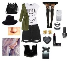 """""""Untitled #2067"""" by sosfamforlife ❤ liked on Polyvore featuring Topshop, Dr. Martens, MICHAEL Michael Kors, Maison Michel, Eva Fehren, OPI, Manic Panic and Torrid"""