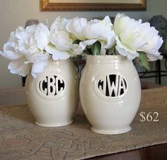 Personalized Monogrammed Gift - Handmade Vase for Individuals or Couples