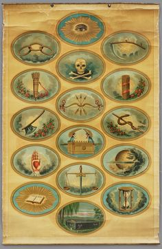 """INDEPENDENT ORDER OF ODD FELLOWS TRACING BOARD/ Possibly A. Hoen & Co., lithographer, Baltimore, 1885–1900, chromolithograph on linen with metal, 38 1/2 x 25 1/2"""", collection American Folk Art Museum, New York, gift of Kendra and Allan Daniel, 2015.1.43. Photo by José Andrés Ramírez"""