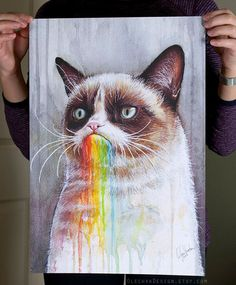 Grumpy Cat Art, Taste The Rainbow - Gicleé Art Print I tasted the rainbow once. It was horrible.  A print of my original watercolor painting: