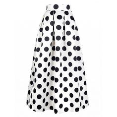 Choies White Polka Dot Print Maxi Skirt ($35) ❤ liked on Polyvore featuring skirts, white, long skirts, white maxi skirt, white skirt, dot skirt and floor length skirts