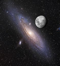 A Lua sobre Andrômeda  A Grande Galáxia Espiral em Andrômeda, também conhecida como M31, localiza-se a meros 2.5 milhões de anos-luz de distância da Terra, e é considerada a grande espiral mais próxima da Via Láctea. Andrômeda é visível a olho nu, como um pedaço luminoso pequeno, apagado e difuso, mas devido ao fato de seu brilho superficial ser baixo, observadores casuais não podem apreciar a impressionante extensão da galáxia no céu do planeta Terra.