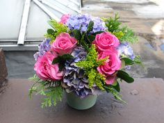 "Lively pink and blue NYC #flower arrangement.  the pink roses are sweet; perfect to send as a ""thinking of you"""