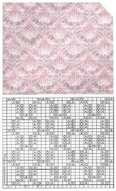 Lace Knitting Stitches, Lace Knitting Patterns, Knitting Charts, Lace Patterns, Knitting Yarn, Free Knitting, Baby Knitting, Stitch Patterns, Knitting Projects
