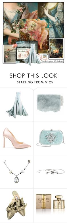 """Romanticism"" by sue-mes ❤ liked on Polyvore featuring John Galliano, Gushlow & Cole, Jimmy Choo, Badgley Mischka, Marc Jacobs, Manolo Blahnik, Gucci and Elizabeth Arden"