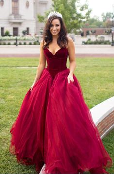 Wine red evening gown, ball gown, wedding dress,