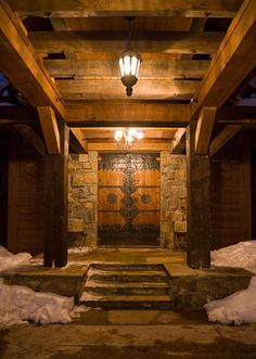Antique Chinese Gate Entry, Cedarview The Yellowstone Club, Locati Architects, Bitterroot Builders, Bitterroot Timber Frames,  Karl Neumann Photography. Varda Interiors. Reclaimed wood, logs, antique