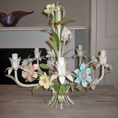 French Fl Chandelier From Gilt Gloss Metal Flower