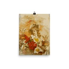 Beautiful Abstract Vintage Woman Flowers Poster
