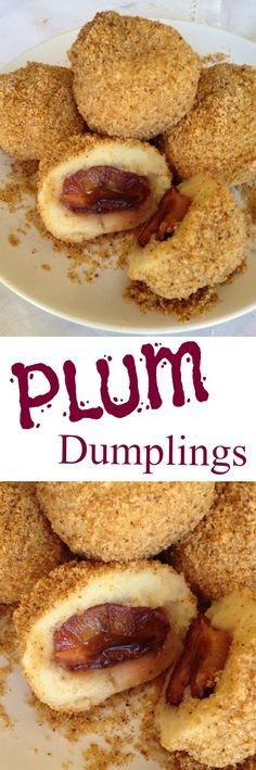 It can be eaten as dessert, a meatless main dish or side dish. A family favourit and children's delight. Potato dumplings stuffed with plums & cinnamon sugar and rolled in breadcrumbs. Hungarian Desserts, Romanian Desserts, Hungarian Cuisine, Romanian Food, Hungarian Recipes, Hungarian Food, Hungarian Cookies, Plum Dumplings, Plum Recipes